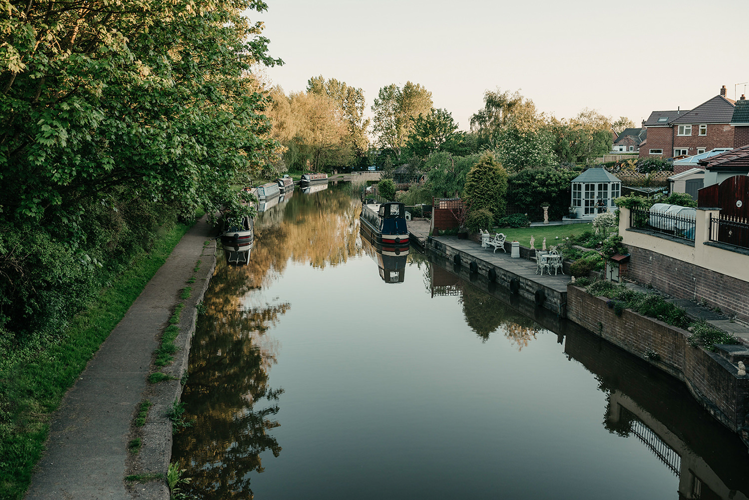 A beautiful canal in Cheshire at sunset