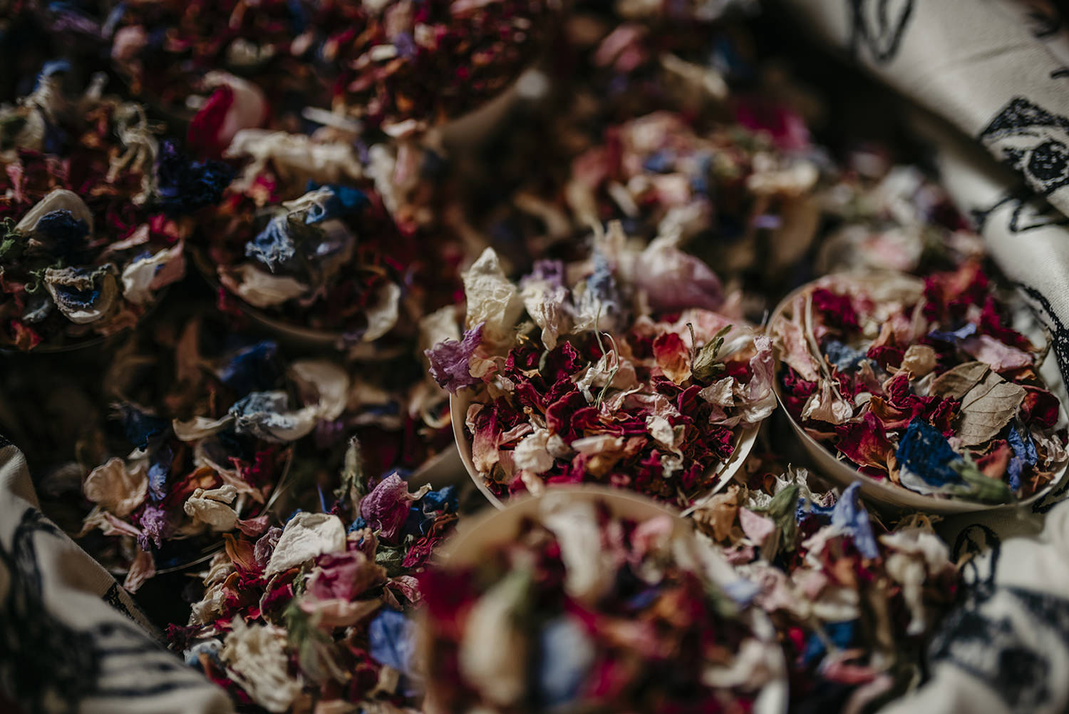 Dried petals as confetti