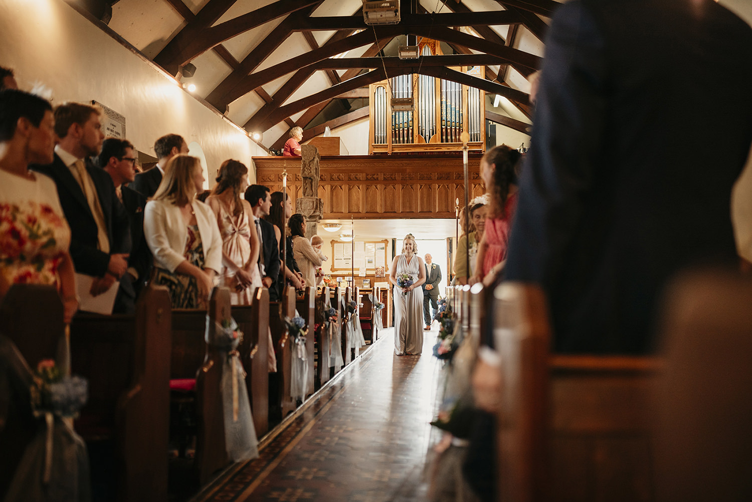 Bridal party entering the Maughold church