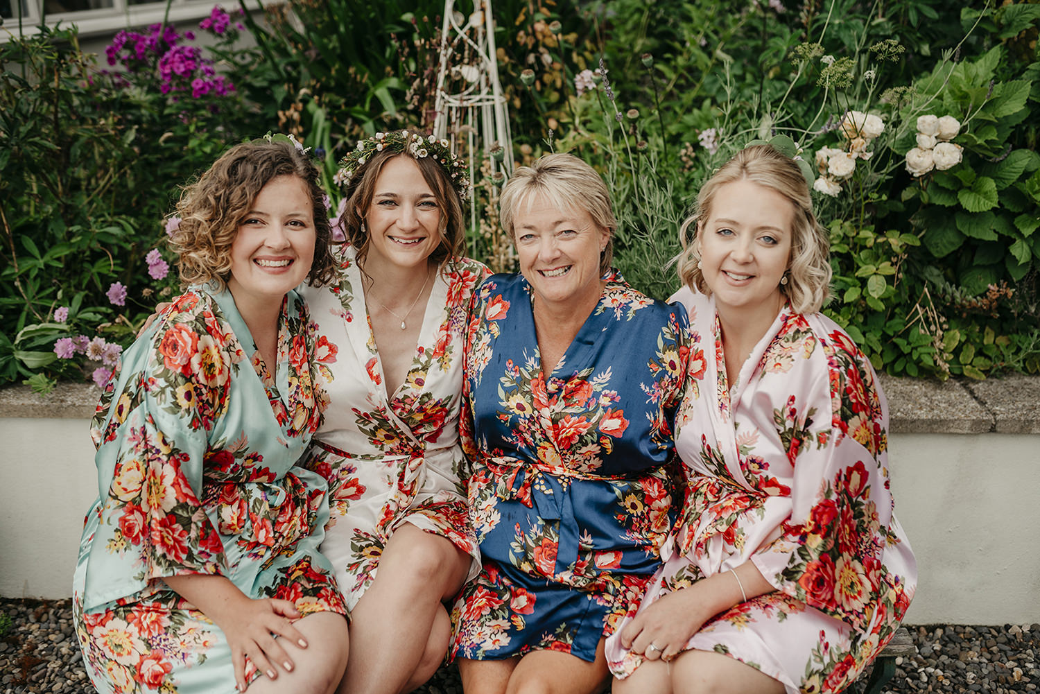 Bridal party in their matching dressing gowns