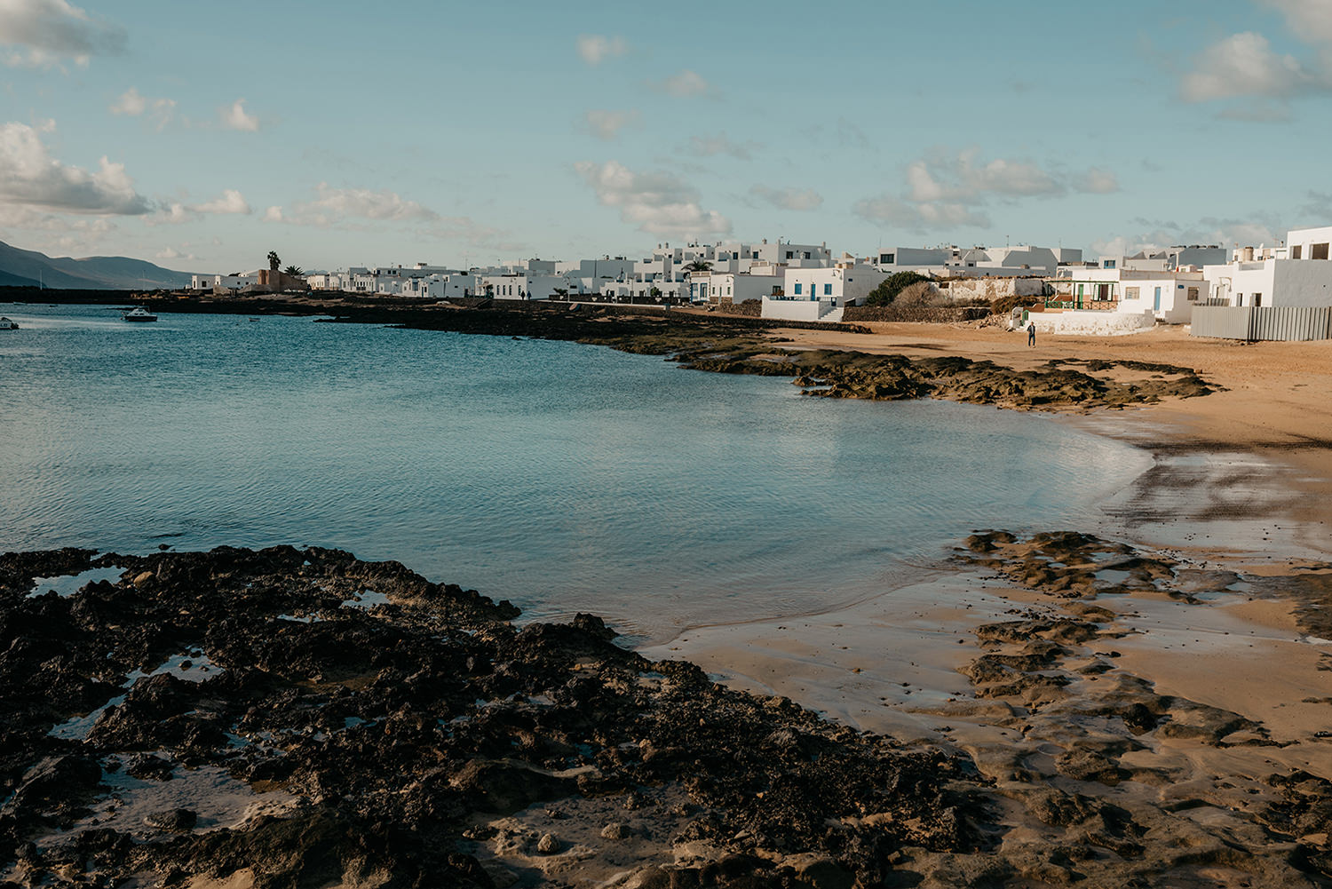 Caleta del Sebo is the main town on La Graciosa set around a pretty bay and overlooking Lanzarote