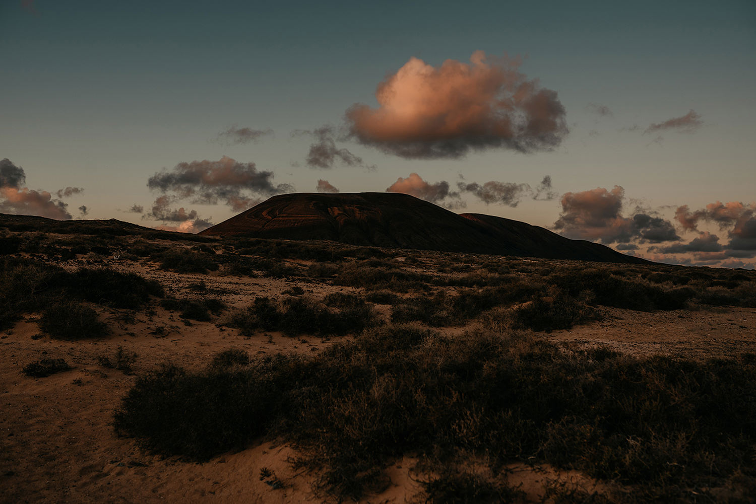 La Graciosa's volcanic peaks at sunset