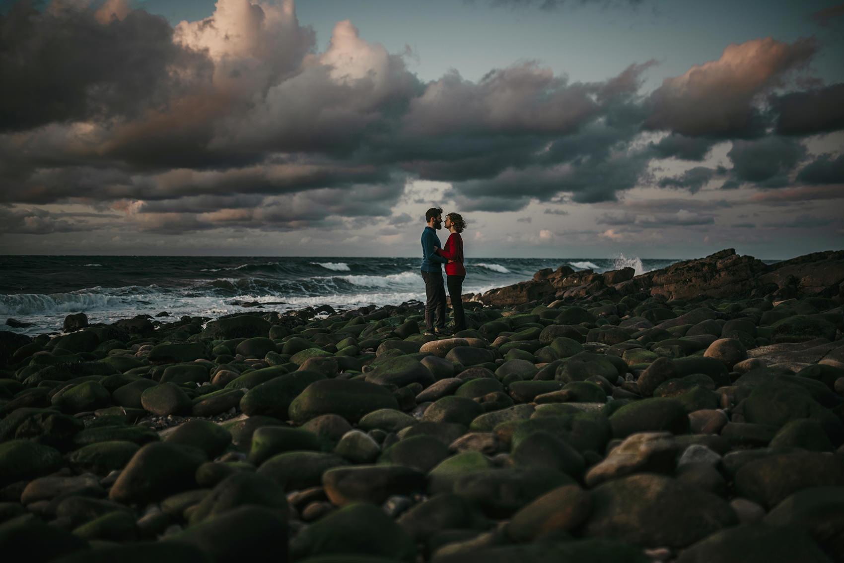 windswept sunset engagement photoshoot on Isle of Man