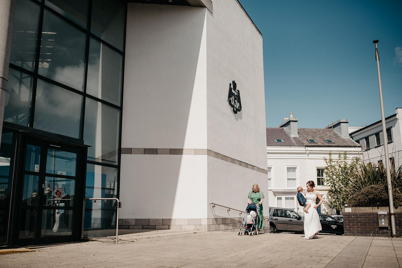 Bride arriving at the Douglas Registry Office