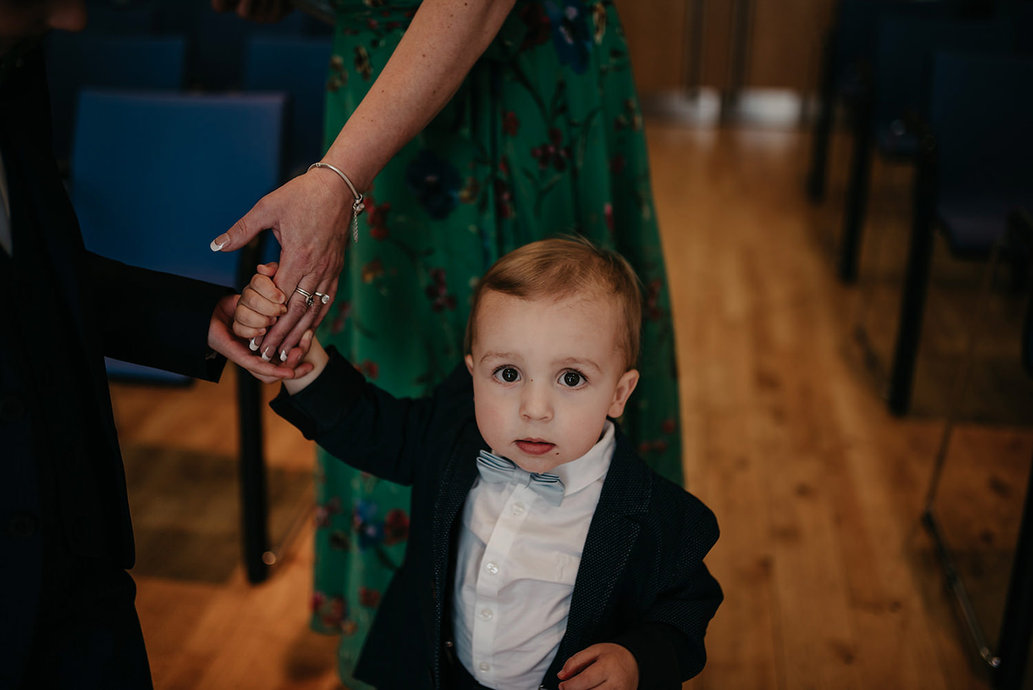 Couple's youngest son before the wedding ceremony