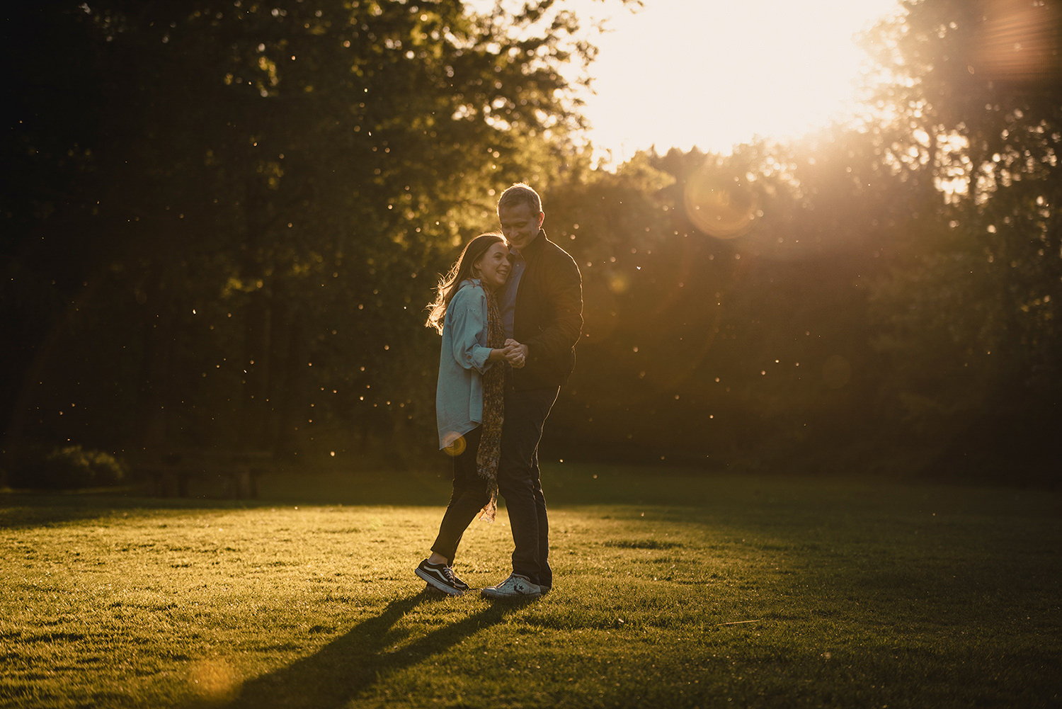 Sunset engagement photoshoot in Marbury Park , Northwich, Cheshire