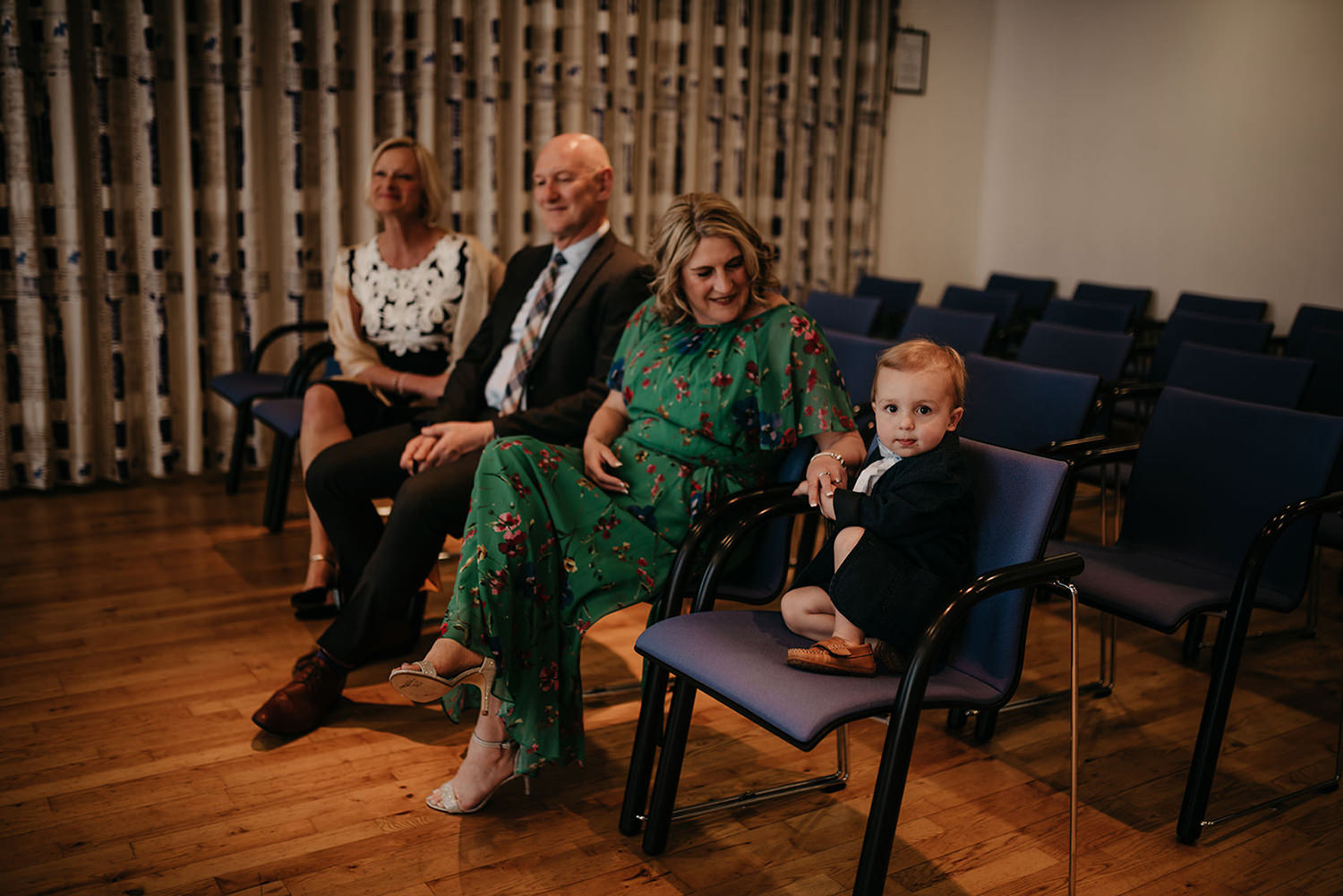Couple's parents and kids before their Isle of Man and Northwich elopement ceremony