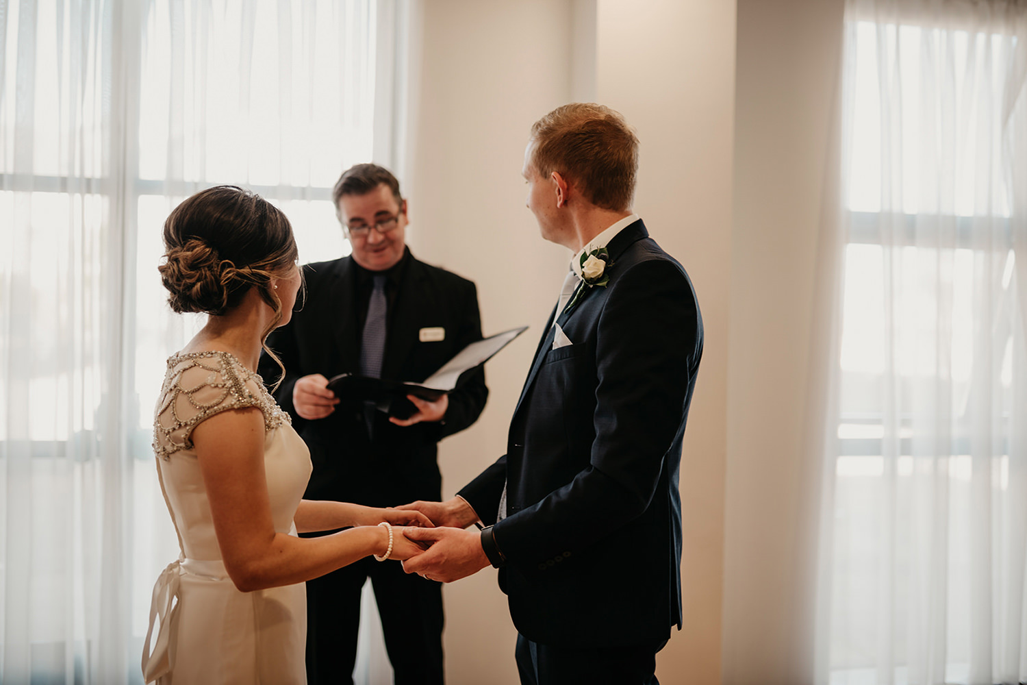 Wedding ceremony at Douglas Registry office
