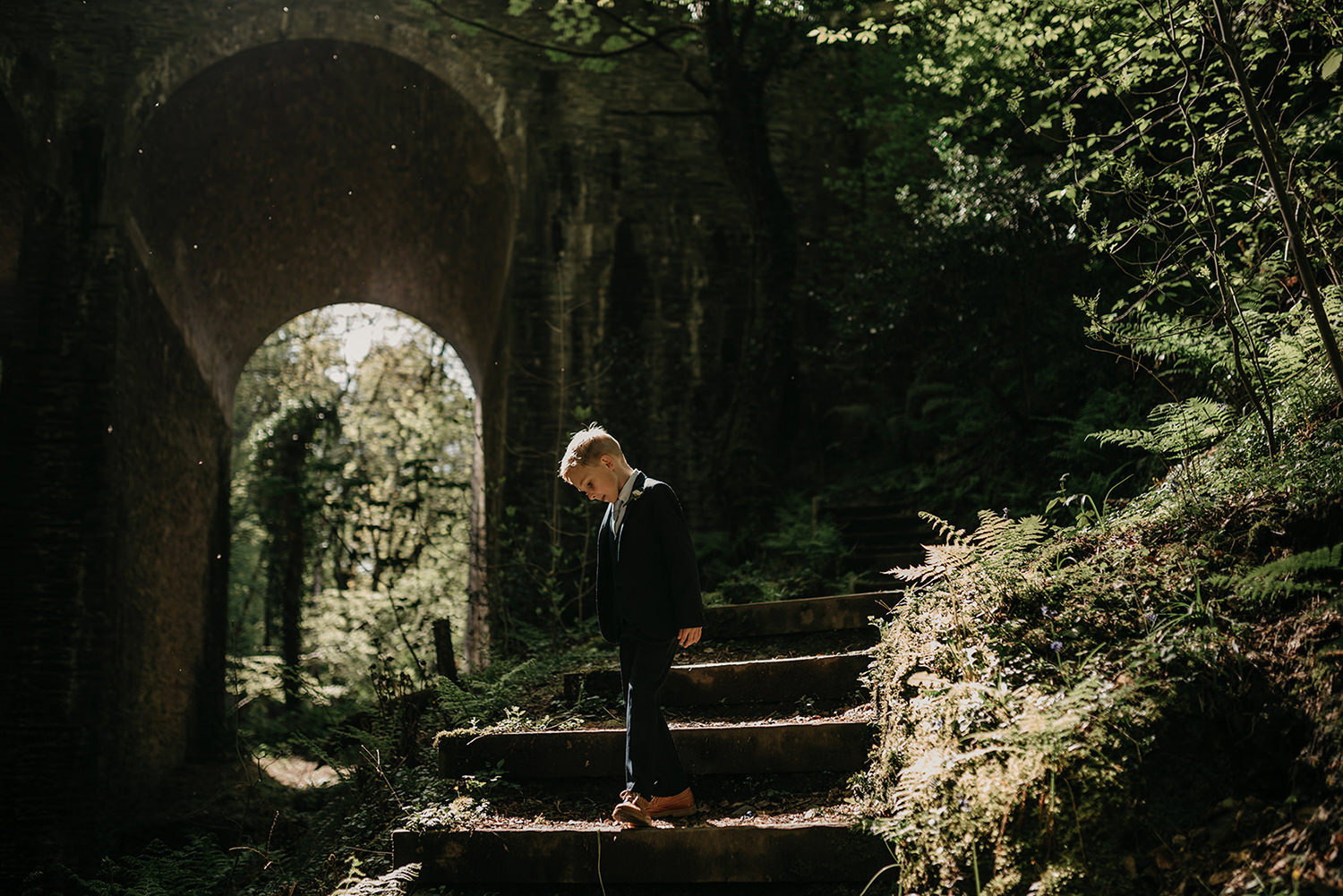 Playing by the bridge in Groudle Glen, Isle of Man