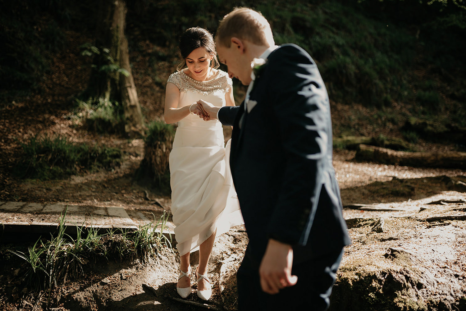 Isle of Man elopement photo session in Groudle Glen