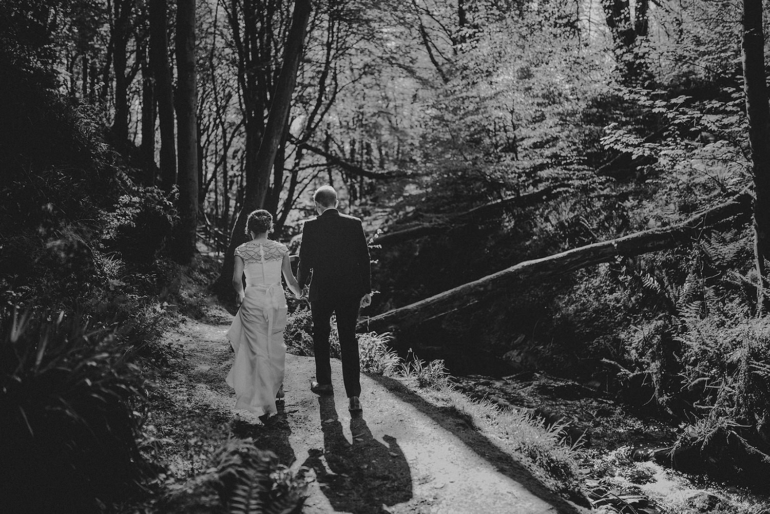 Louise and Ross wanted to their Isle of Man elopement photos to be taken in a forest-y area