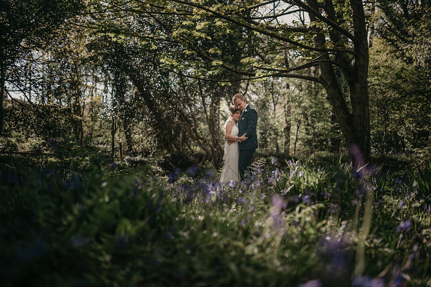 Wedding photos in Groudle Glen bluebells
