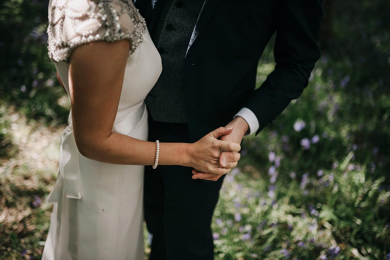 Wedding photos in bluebells of Isle of Man