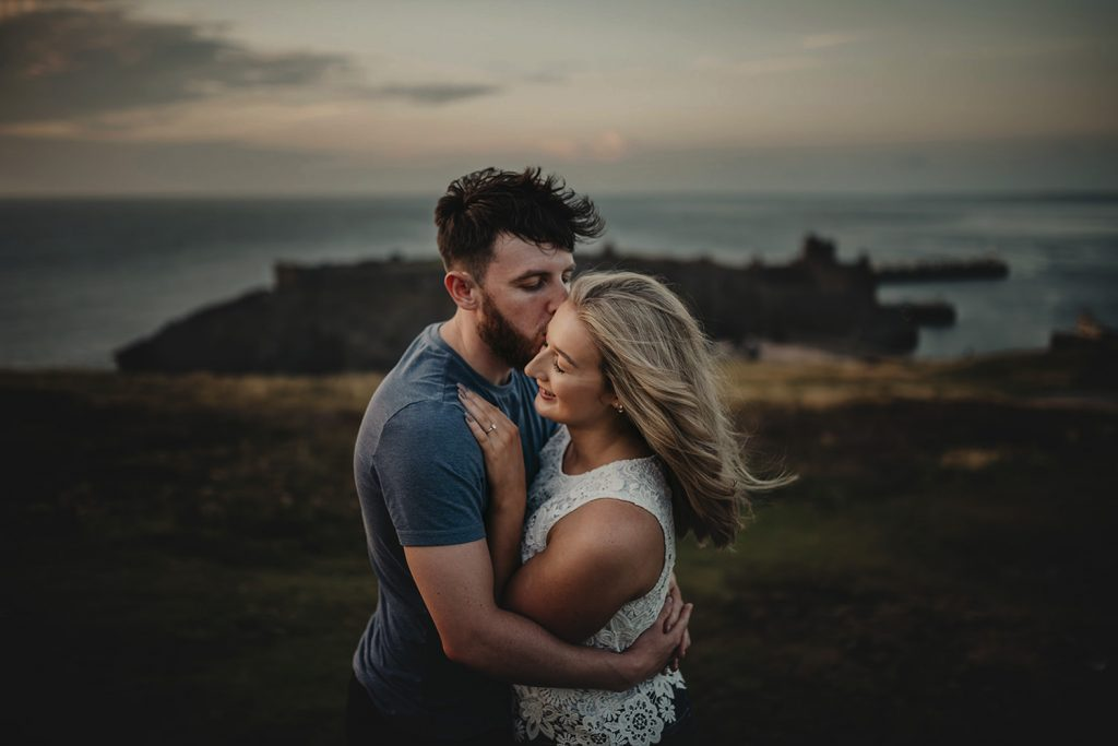 Save the Date Photoshoot in Peel with Peel castle in the background