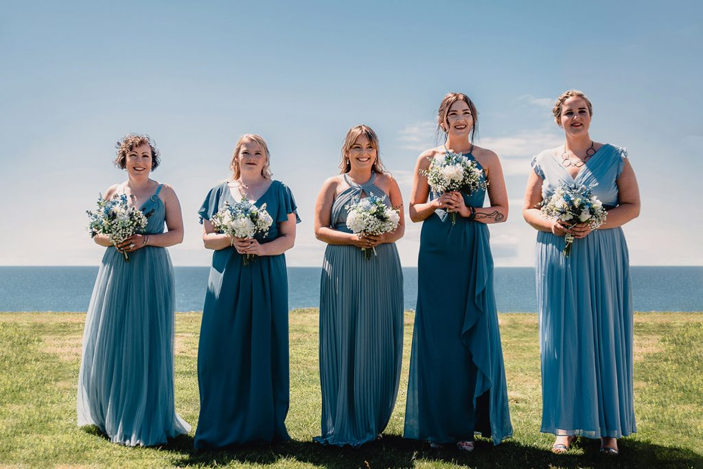Bridesmaids waiting for the bride to walk down the isle at Niarbyl
