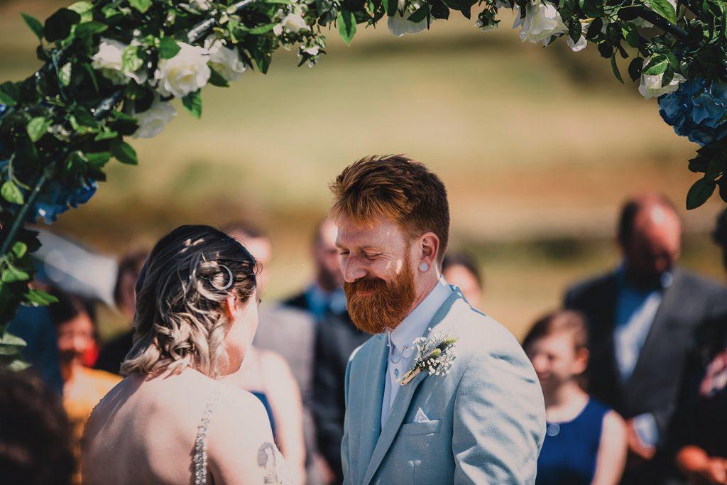 Outdoor wedding ceremony at Niarbyl bay café