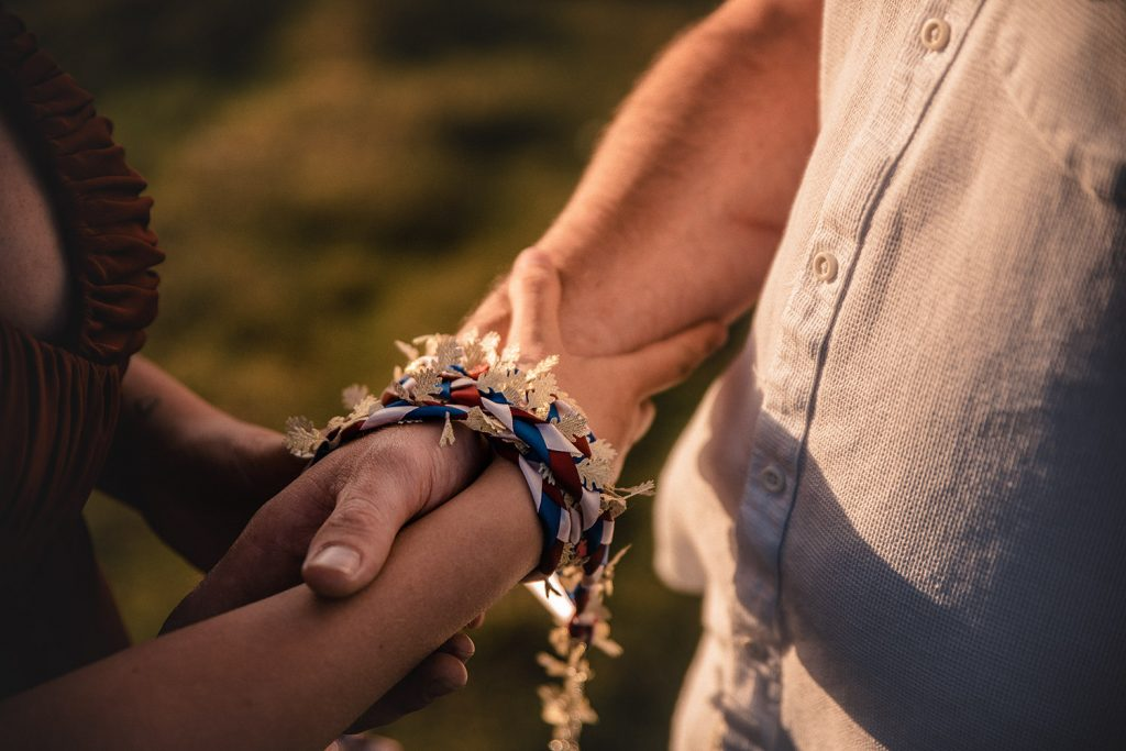 Handfasting is an ancient Celtic ritual in which the hands are tied together to symbolize the binding of two lives.