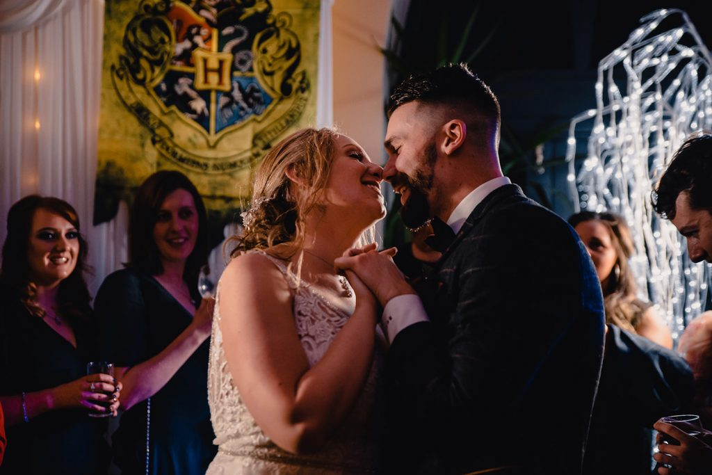 First dance at Ryan and Hayley's Harry Potter Halloween wedding at Rushen Abbey Restaurant