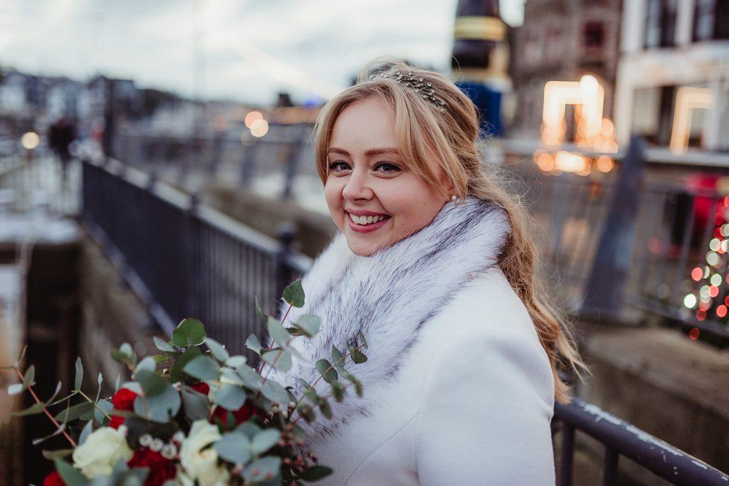 Bride at Douglas harbour