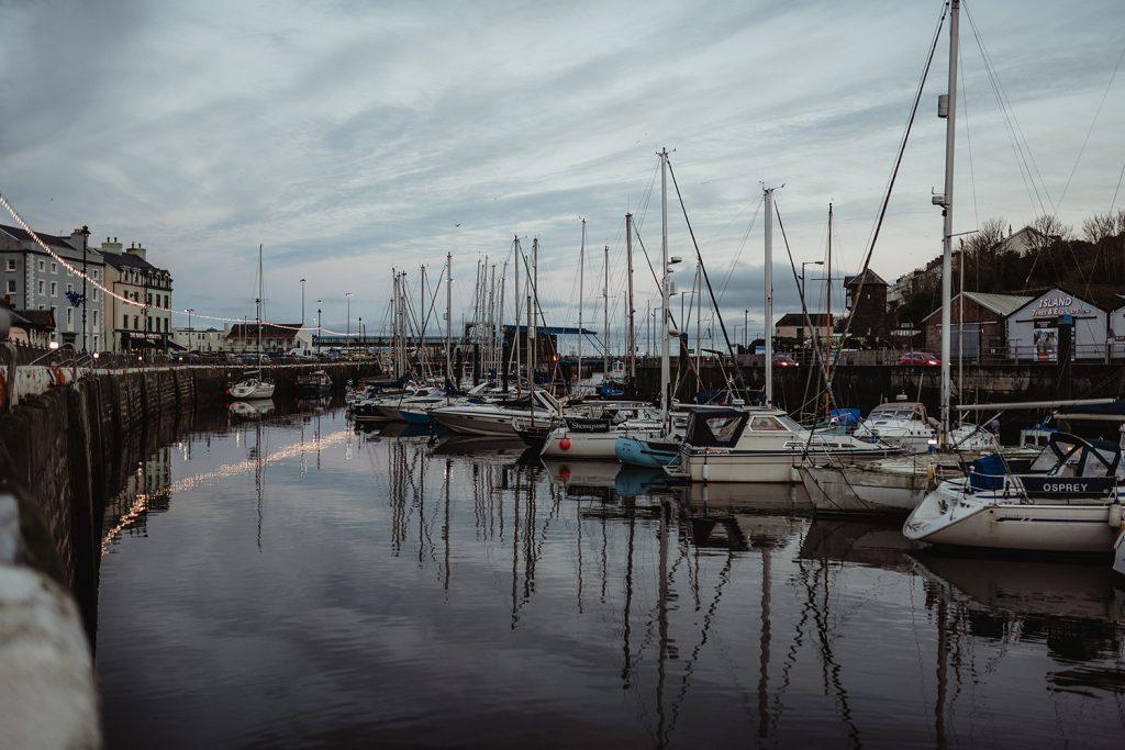 Douglas harbour in low winter light