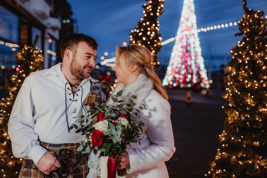 Wedding photos with Christmas lights in Douglas