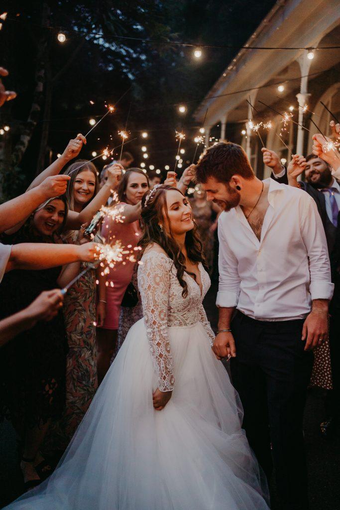 Laxey Glen wedding sparkler exit