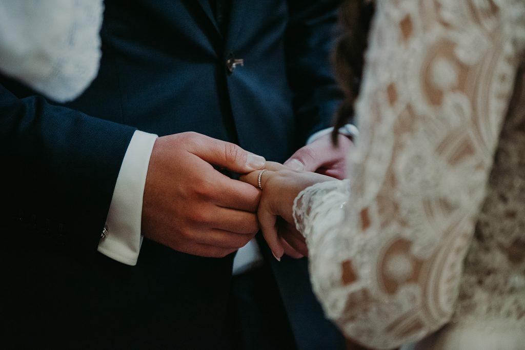 Kirk Braddan church wedding ring exchange